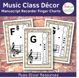Music Class Decor - Manuscript Recorder Finger Charts