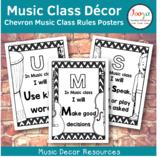 Music Class Decor - Chevron Music Class Rules Posters