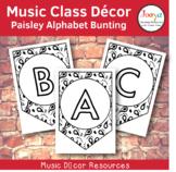 Music Class Decor - Paisley Alphabet Bunting