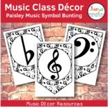 Music Class Decor - Paisley Music Symbol Bunting