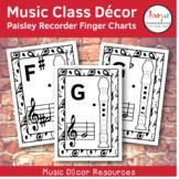 Music Class Decor - Paisley Recorder Finger Charts