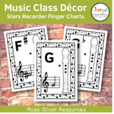 Music Class Decor - Stars Recorder Finger Charts