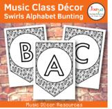 Music Class Decor - Swirls Alphabet Bunting