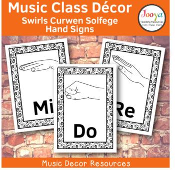 Music Class Decor -  Swirls Curwen Solfege Hand Signs