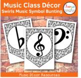 Music Class Decor - Swirls Music Symbol Bunting