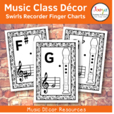 Music Class Decor - Swirls Recorder Finger Charts