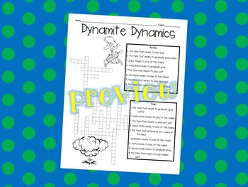 Music Class Dynamics Crossword Puzzle Worksheet