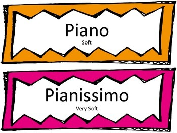 Music Class Dynamics Labels for Display or Bulletin Board