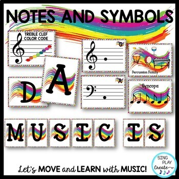 Music Class Decor: Primary colors, Bulletin Board, Posters