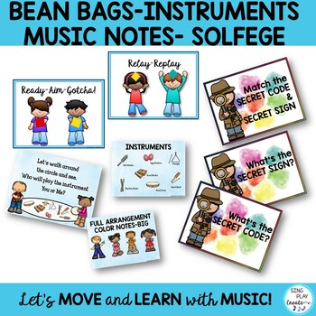Music Class Games Bundle for Music Notes, Symbols, Instruments, Solfege K-6
