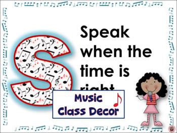 Music Classroom Decor: Music Class Rules Set 1