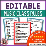 Music Room Posters: Music Decor - Music Class Rules EDITABLE Posters