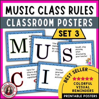 Music Posters: Music Decor: Music Classroom Rules Set 3