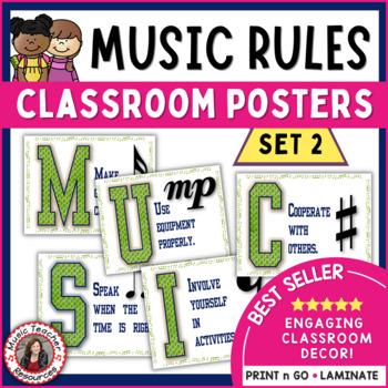 Music Room Decor Kit Set 2: Music Classroom Rules: Music Room Posters