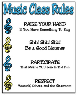 Music Class Rules Sign