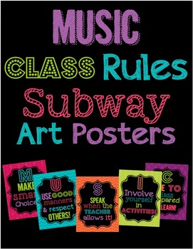 Music Class Rules Subway Art Poster Set