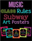 Music Class Rules Subway Art Poster Set