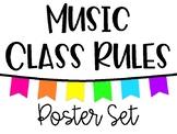 Music Class Rules - White & Neon