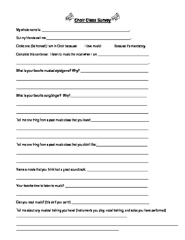 Music Class Survey - Great for First Day!