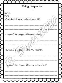Music Class Think Sheets | Writing Activities for Behavior Reflection