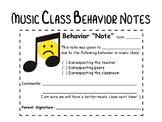 "Music Class ""Behavior Notes"""