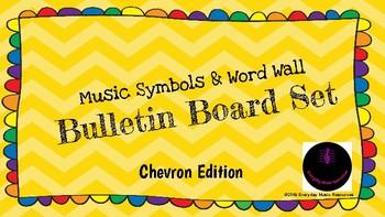 Music Classroom Bulletin Board/Word Wall/Music Symbol Set Chevron