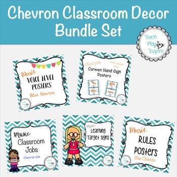Music Classroom Decor Bundle Set - Blue Chevron