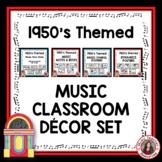 Music Classroom Decor Bundle with a 1950's Theme