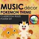 Music Classroom Decor: Pokemon Themed Classroom Rules Posters