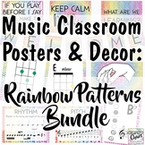 Music Classroom Decor Set: Rainbow Patterns BUNDLE