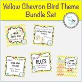 Music Decor Bundle Set - Yellow Chevron Bird Theme