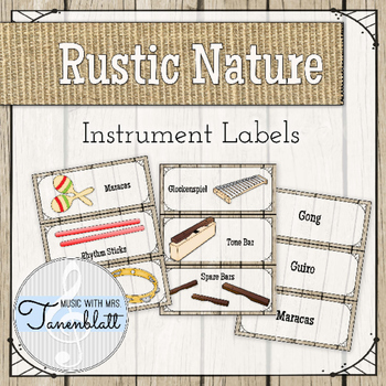 Music Classroom Instrument Labels: Rustic Nature Theme