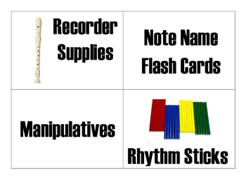 Music Classroom Instrument and Materials Lables