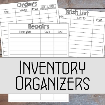 Music Classroom Inventory Excel Workbook (fully editable)