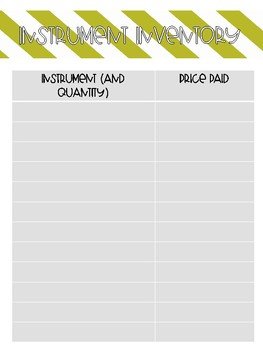 Music Classroom Inventory Packet