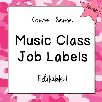Music Classroom Job Labels (Camo Theme)