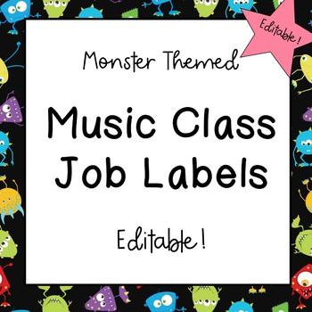 Music Classroom Job Labels (Monster Theme)