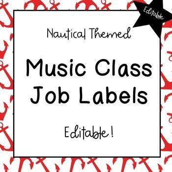 Music Classroom Job Labels (Nautical Theme)