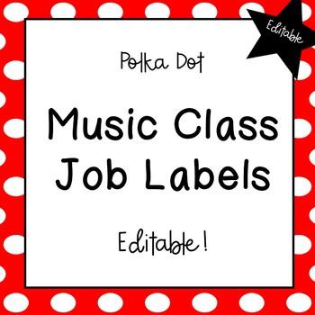 Music Classroom Job Labels (Polka Dots)