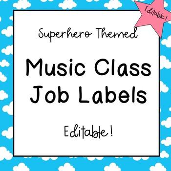 Music Classroom Job Labels (Superhero Theme)