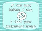 Music Classroom Management Posters | Pastel Rainbow Polka