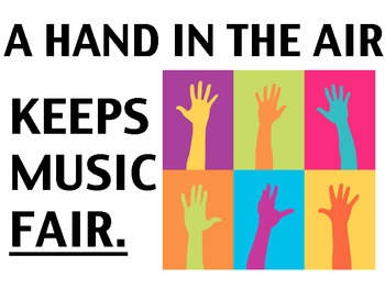 Music Classroom Poster - A hand in the air makes music fair!