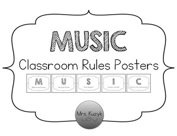 Music Classroom Rules - Black and White