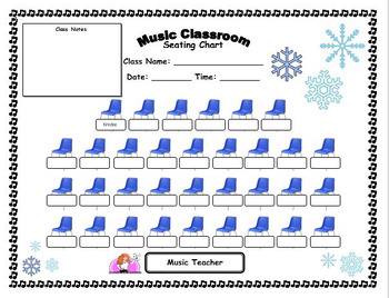 Music Classroom Winter-themed Seating Chart - editable
