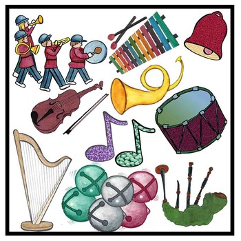 Music Clip Art - Color and Black Line