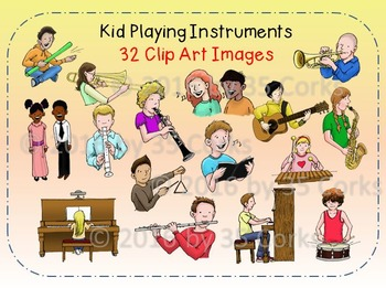 Music Clip Art - Kids Playing Instruments and Singing