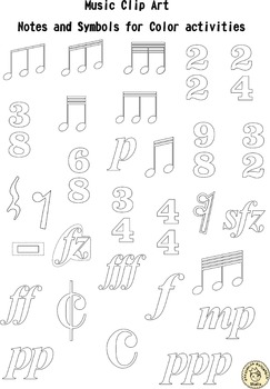 Music Clip Art: Notes and Symbols for Color activities