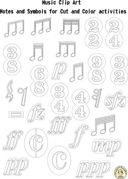 Music Clip Art: Notes and Symbols for Cut and Color activities