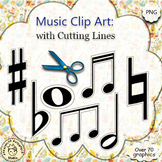 Music Clip Art with Cutting lines