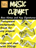 Music Clip Art: Bass Notes and Key Signatures